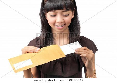 woman open a letter over white background