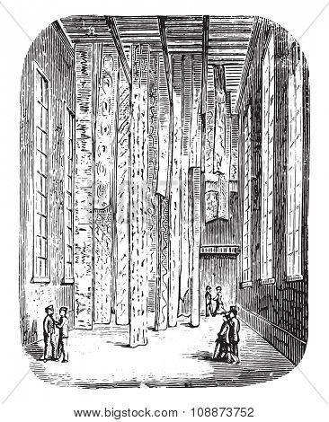 Spreading slat or bar, vintage engraved illustration. Industrial encyclopedia E.-O. Lami - 1875.