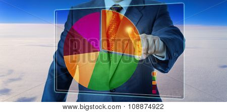 Manager Segmenting A Pie Chart High Above The Sky