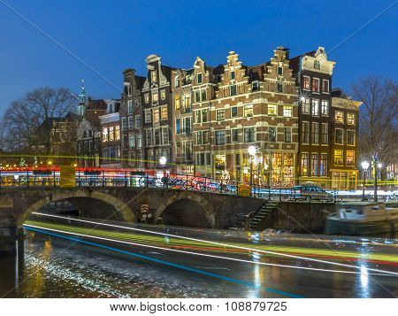 Nightscape Canal Houses Amsterdam