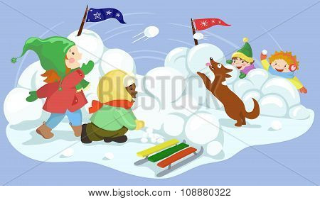 snowball fight vector illustration