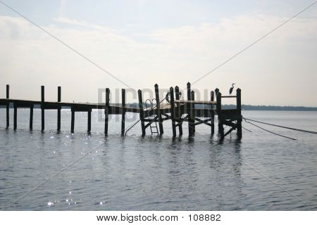 Collapsing Dock With Heron