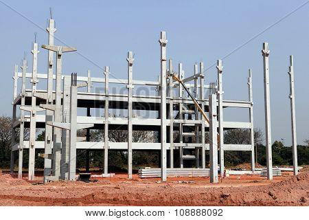 infrastructure construction in concrete precast in sao paulo brazil poster
