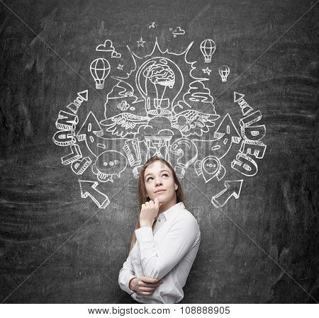 A Beautiful Business Lady Is Dreaming About An Invention Of New Business Ideas For Business Developm