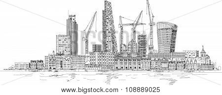 Modern London view from the River Thames, very detailed Illustration with lots of cranes and buildin
