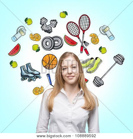 A Beautiful Lady Who Is Trying To Make A Choice In Favour Of A Certain Sport Activity. Colourful Spo