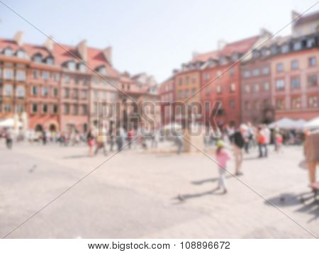 Defocused Background Of Warsaw's Old Town Market Place, Poland