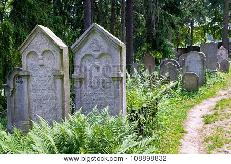CZECH REPUBLIC, TREBIC - July 8, 2012: Jewish cementery, town Trebic (UNESCO, the oldest Middle ages settlement of jew community in Central Europe), Moravia, Czech republic, Europe
