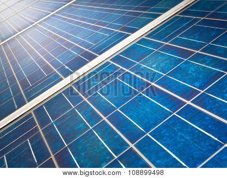 Sun Reflecting In Solar Panel