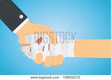 Check hand of injury hand and hand business