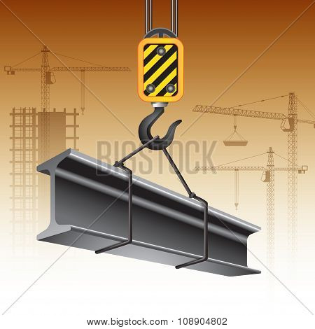 Crane Hook And Steel Beam