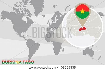 World Map With Magnified Burkina Faso