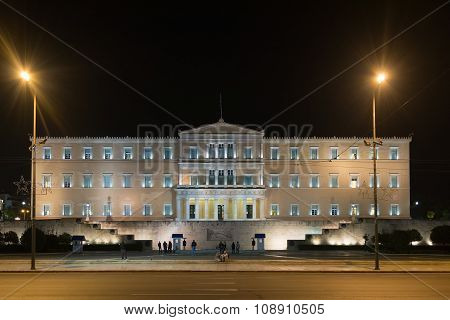 Athens, Greece 11 November 2015. Night traffic in front of Parliament of Greece.