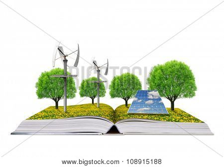 Ecological book with solar panel and wind turbines. Clean energy concept.