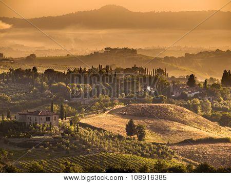 Tuscany Village Landscape Scene Near Volterra