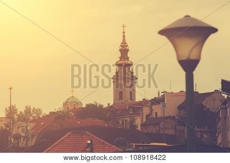 View of Belgrade, Serbia, old orthodox church. poster