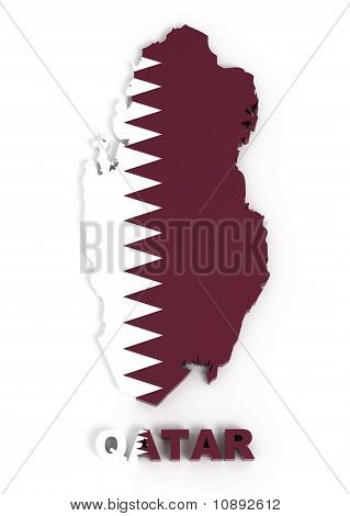Qatar, Map with Flag, Isolated on White with Clipping Path