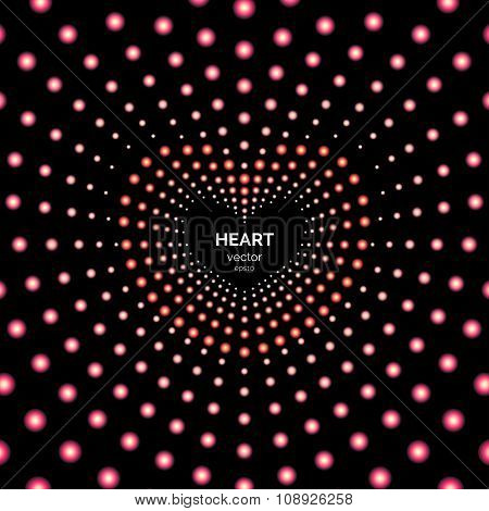 Vector Illustration. Heart Frame With Light Effects. Poster Or Flyer For Your Party.