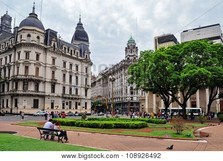 View On The Street From Plaza De Mayo Square In Buenos Aires