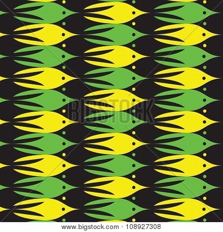 Sea Life Pattern With Yellow, Green And Black Fishes.