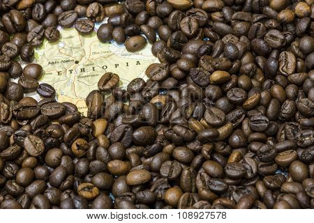 Map Of Ethiopia Under A Background Of Coffee Beans