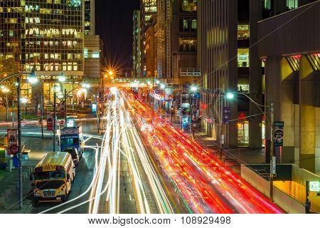 Downtown Toronto City Traffic, Long Exposure
