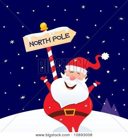Happy Christmas Santa With North Pole Sign