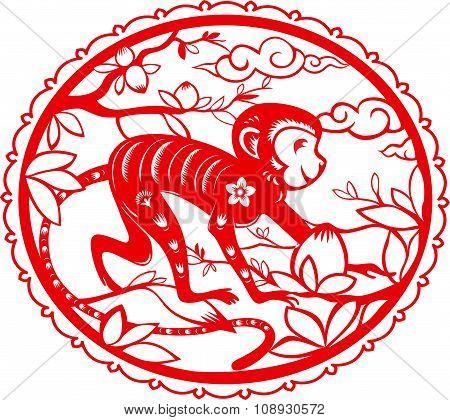 Monkey. Chinese folk paper cutting.