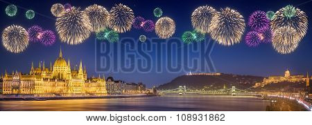 Beautiful Fireworks Under Hungarian Parliament And Liberty Statue