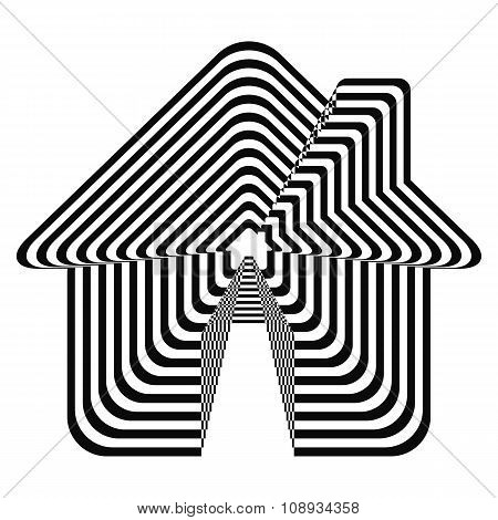 Geometric optical illusion black and white house on a white background. Vector illustration