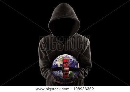 Terrorist With Hoodie And Shows A Time Bomb