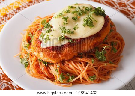 Italian Food: Chicken Parmigiana And Spaghetti Closeup. Horizontal