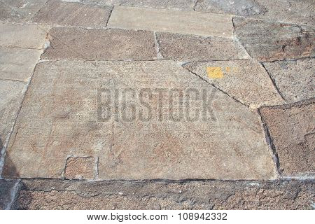 Old Historic Inscription In The Baseplates  At The Dagoba  Isurumuniya Vihara