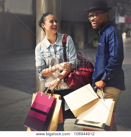 Shopping Couple Capitalism Enjoying Romance Spending Concept poster