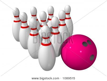 Ten Bowling Pins With A Bowling Ball