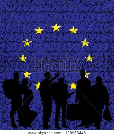 Europe (European Union) closing its borders due to migrant crisis and illegal immigrants. Vector conceptual illustration with barbed wire around Europe and immigrants silhouettes in front of it. poster