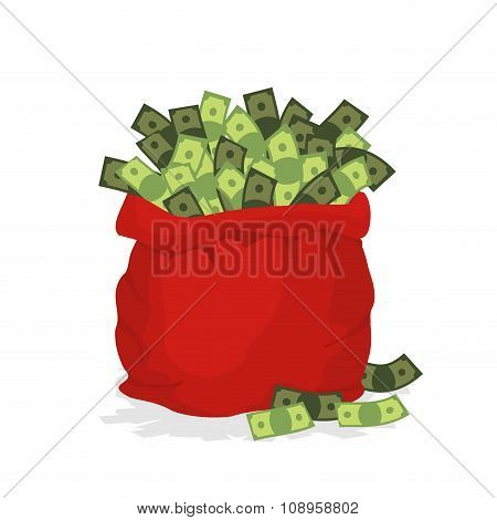 Money Bag Santa Claus. Big Red Festive Bag Filled With Dollars. Many Cash In Bag. Illustration For N