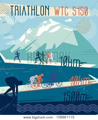 Vector retro illustration triathlon.