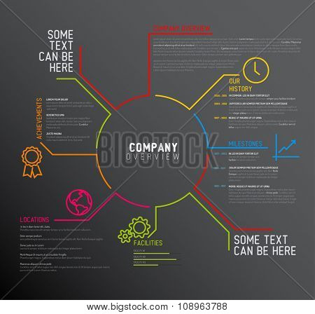 Vector Company infographic overview design template with thin line icons - dark version