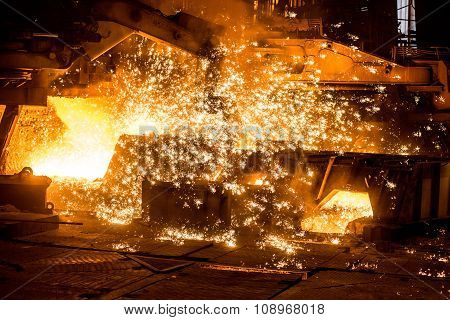 Blast furnace with sparks.