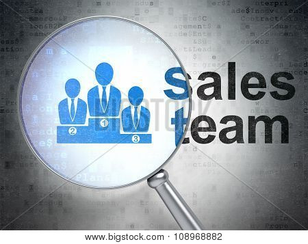 Advertising concept: Business Team and Sales Team with optical glass