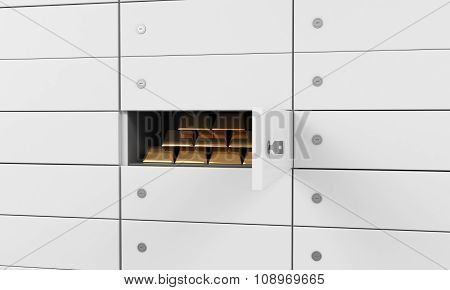White safe deposit boxes in a bank. There are gold bullions inside of a one box. A concept of storing of important documents or valuables in a safe and secure environment. 3D rendering. poster