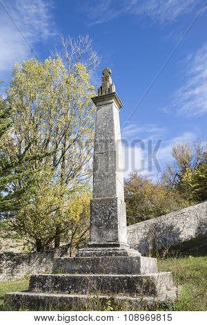 Ruta de Mio Cid stone pillory in Castrillo del Val, Burgos, Spain