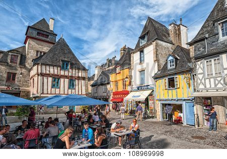 Lively Town Square In Quimper, Brittany, France