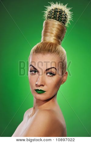 Woman with cactus in her hair
