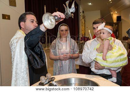 Houston, Tx/usa - 04 04 2015: Christian Baptising A Girl In St. Kevork Armenian Church In Houston, T