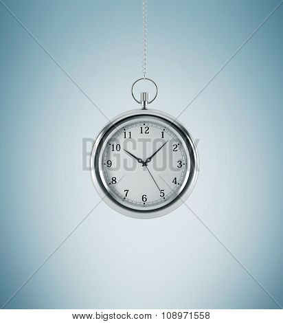 A Model Of Pocket Watch Which Is Hanging On The Chain. A Concept Of A Value Of Time In Business. Lig