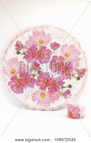 Decoupage Decorated Plate With Flower Pattern