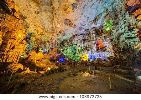 Dau Go Cave, Vietnam - Circa August 2015: Colorful Illumination In Dau Go Cave In Halong Bay,  Vietn