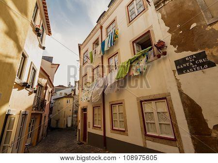 Washed laundry hanging, Lissabon city
